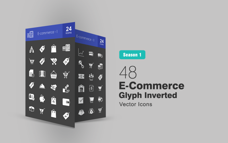 Ensemble d'icônes inversées de glyphe de commerce électronique 48