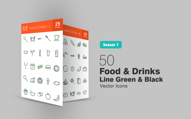 Ensemble d'icônes de 50 lignes de nourriture et de boissons vertes et noires