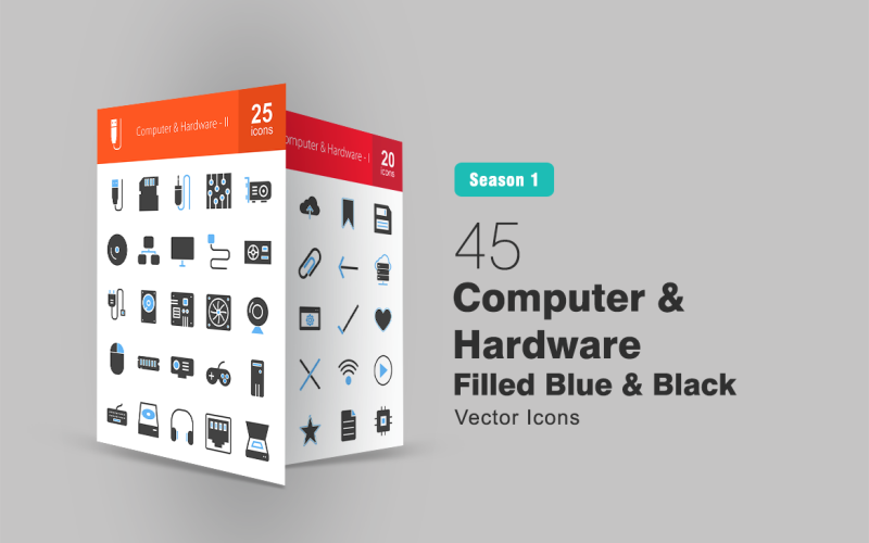 45 компьютерных и аппаратных средств, заполненных сине-черным набором иконок