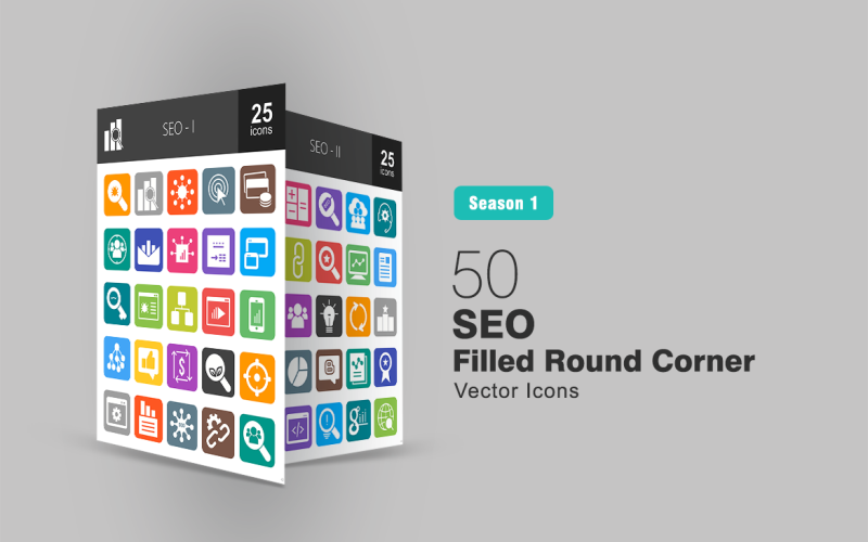 Набор иконок 50 с закругленными углами с заполнением для SEO