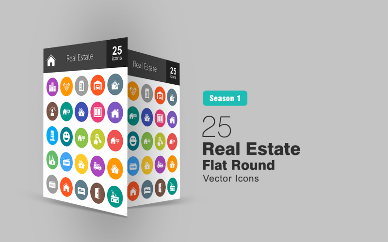 26 Ensemble d'icônes rondes plates immobilier