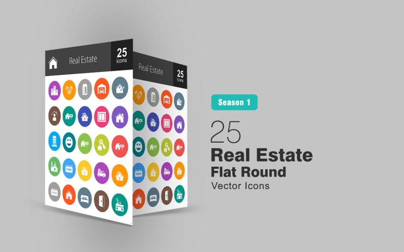 26 Fastigheter platt rund ikonuppsättning