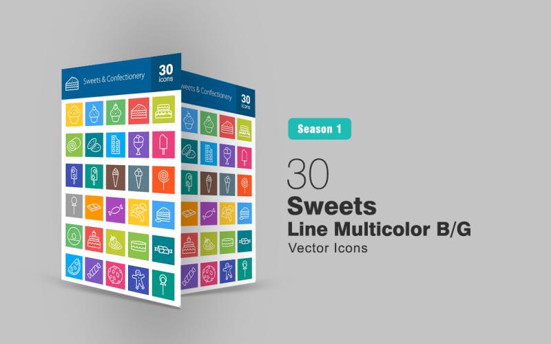 Ensemble d'icônes multicolores B / G de la ligne 30 bonbons et confiseries