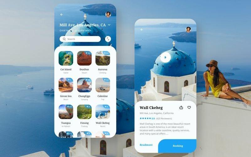Travel App UI Sketch Template