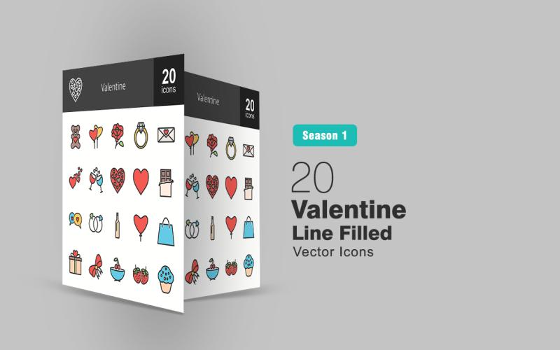 20 Ensemble d'icônes de ligne remplie de la Saint-Valentin
