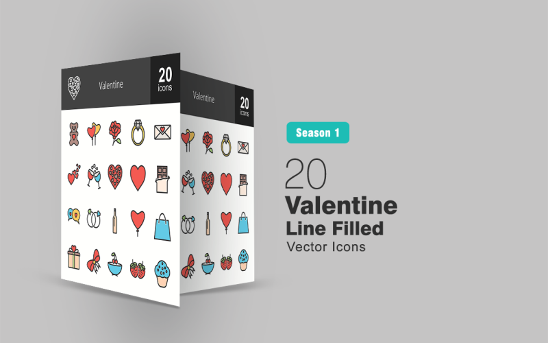 20 Valentine Filled Line Icon Set