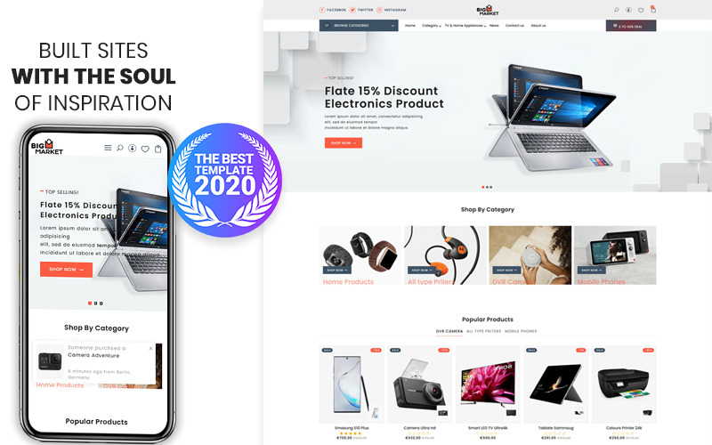 Bigmarket-电子和智能手机高级Shopify主题
