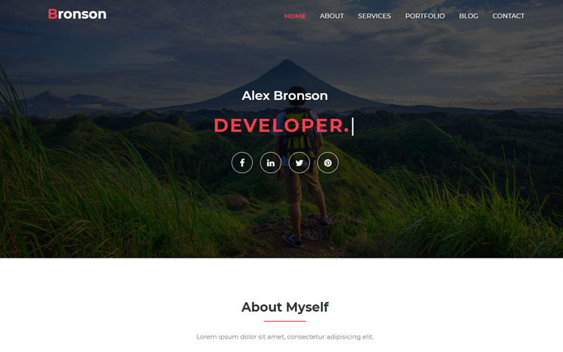 Bronson-Personal Portfolio Landing Page Vorlage