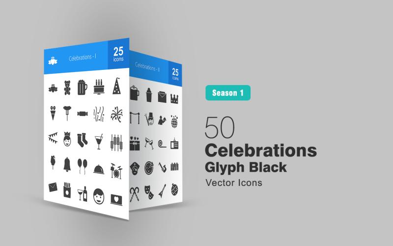 Conjunto de iconos de glifos de 50 celebraciones