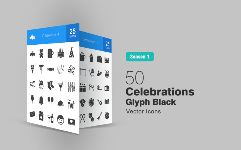 50 Feiern Glyph Icon Set