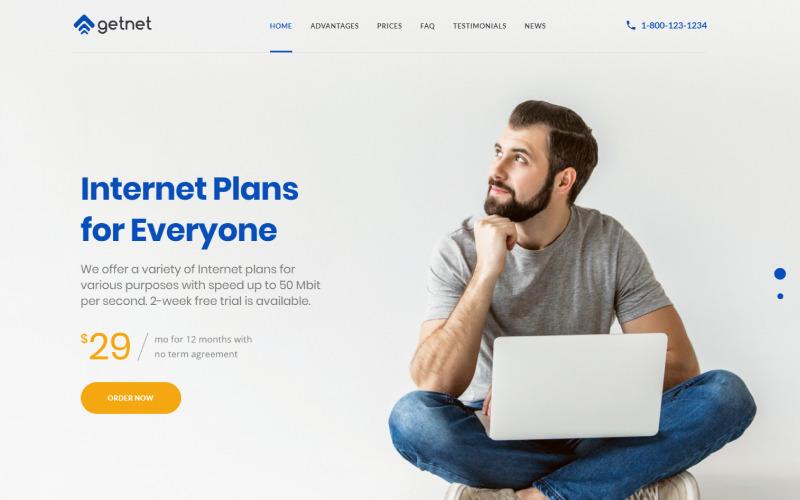 GetNet - šablona úvodní stránky poskytovatele internetových služeb