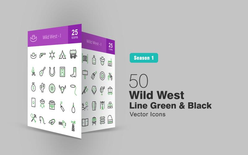 Набор из 50 зеленых и черных значков линии Дикого Запада