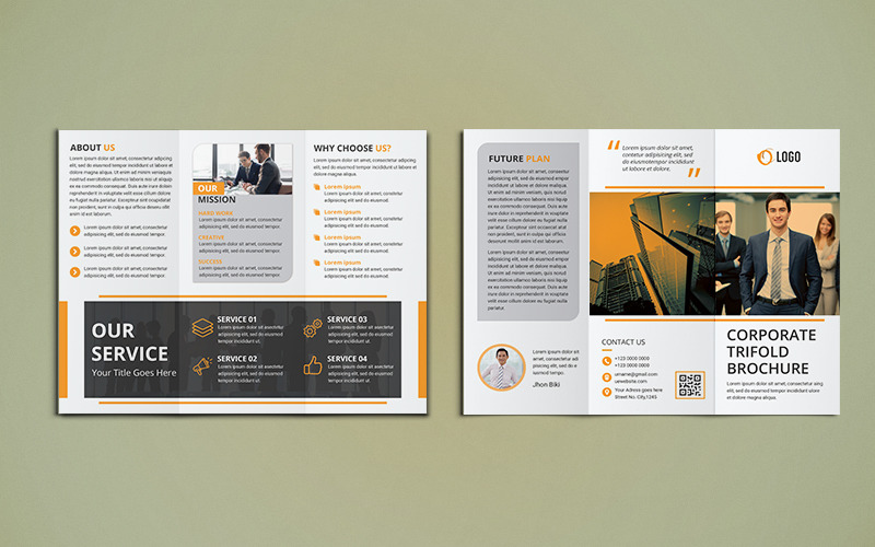 Trifold broschyrdesign - mall för företagsidentitet