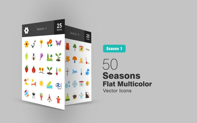 50 Mevsim Düz Çok Renkli Icon Set