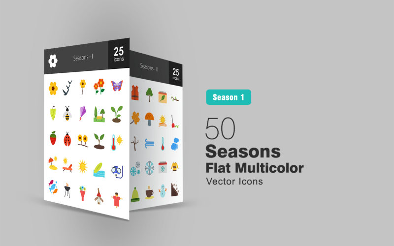 50 Seasons Flat Multicolor Icon Set