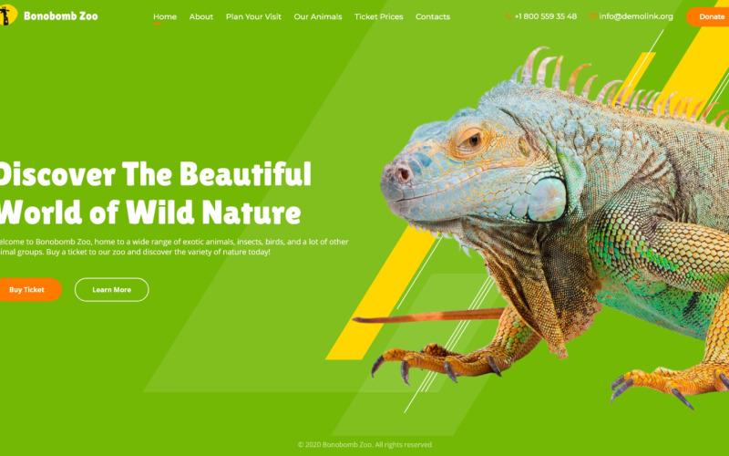 Bonobomb - полностью анимированный шаблон сайта зоопарка