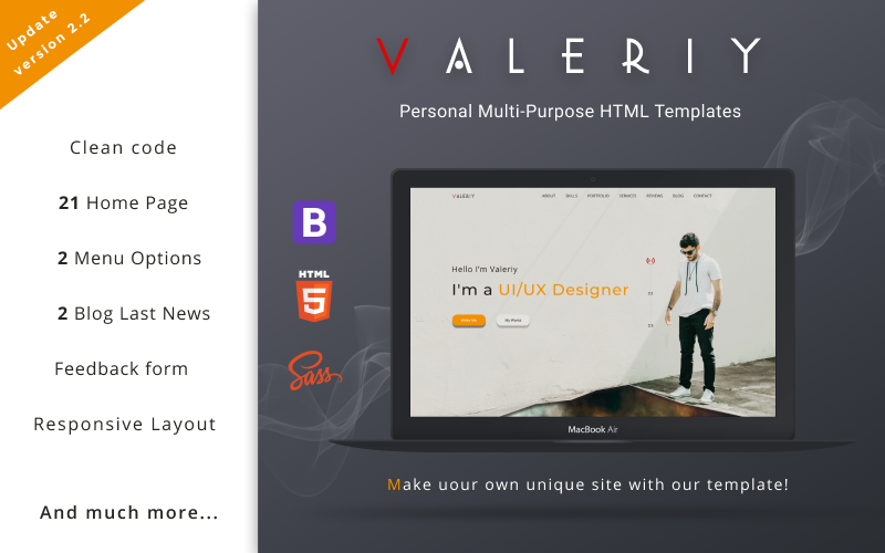 Valeriy | Kişisel Çok Amaçlı Açılış Sayfası Şablonu