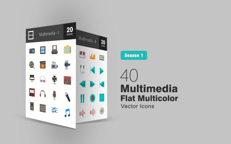 40 Multimedia Flat Multicolor Icon Set