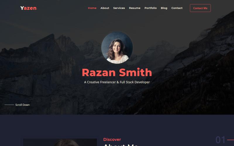 Yazen - Шаблон целевой страницы личного портфолио