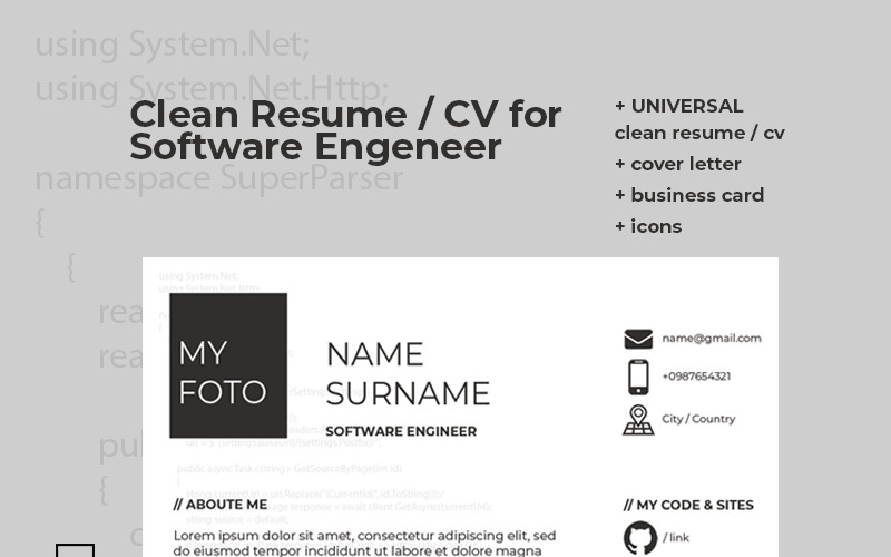Clean CV for Software Engineer Resume Template