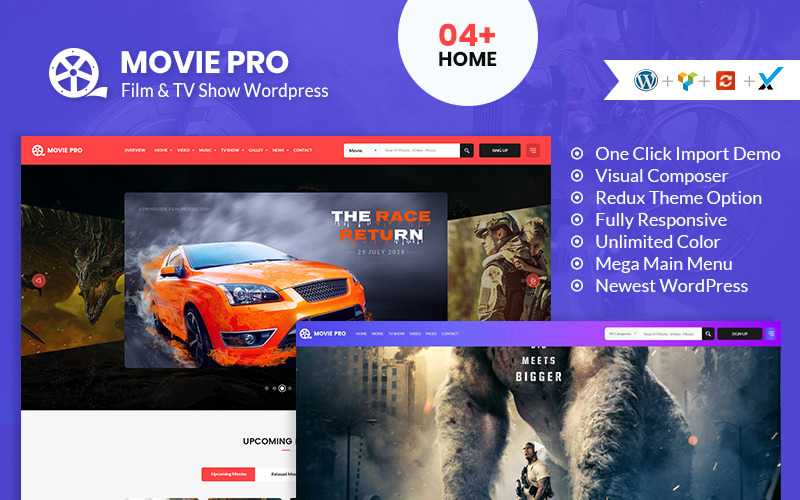 Тема WordPress для фильмов, видео и телешоу Movie Pro