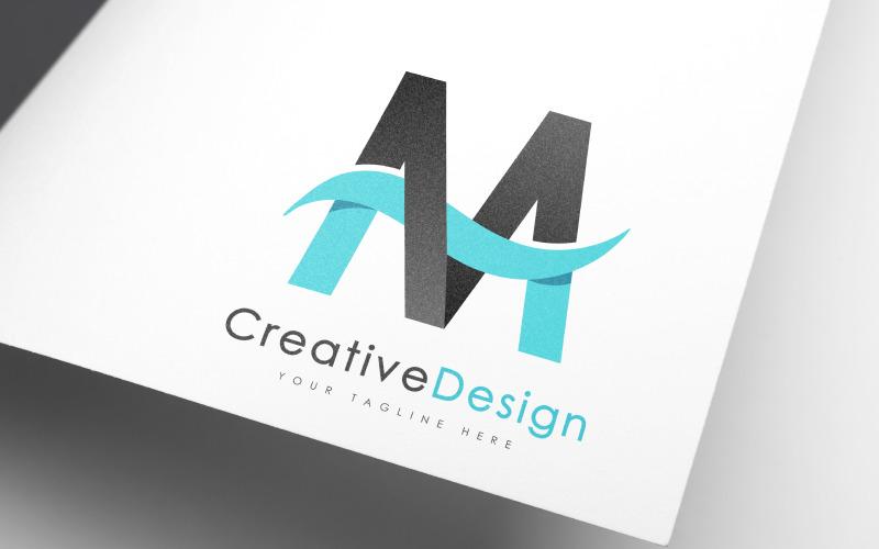Creative M Letter Blue Wave Design Logo Template