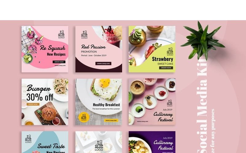 Cooq  - Food Instagram  Post Social Media Template