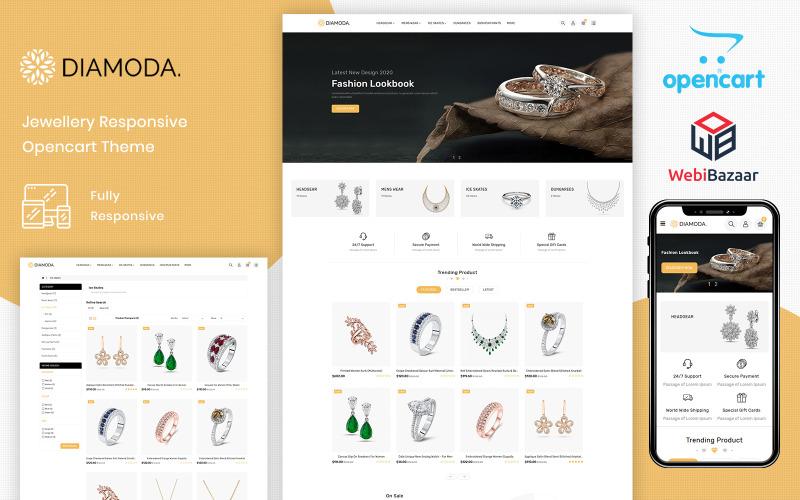 DIAMODA - Modèle OpenCart de magasin réactif de bijoux