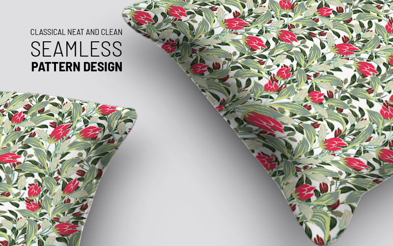 Beautiful flowers on branches repeat design Pattern
