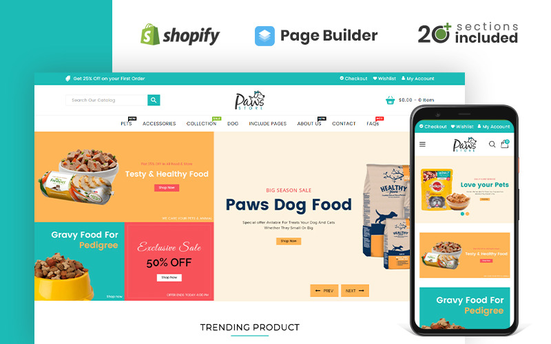 Paws Pet Store Shopify-thema