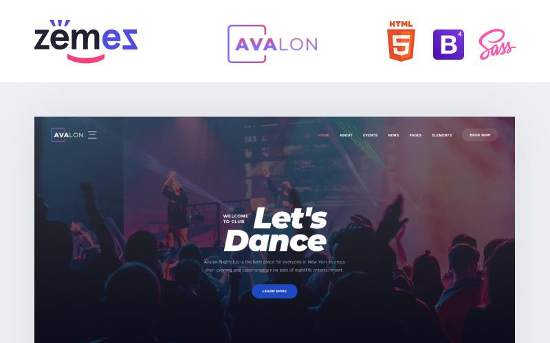 Avalon - Šablona webových stránek reagující na noční klub