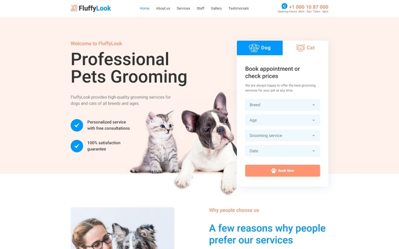FluffyLook - Modèle de page de destination propre pour le toilettage des animaux de compagnie