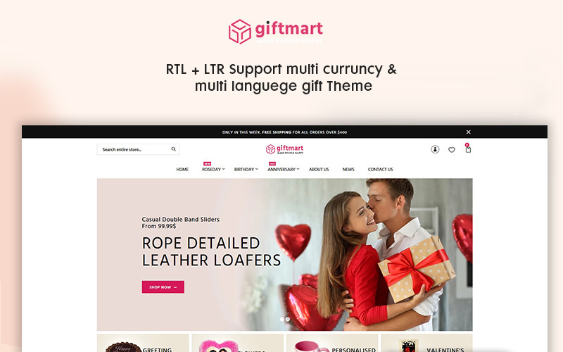 Giftmart - Le thème Shopify adapté aux cadeaux et à la mode