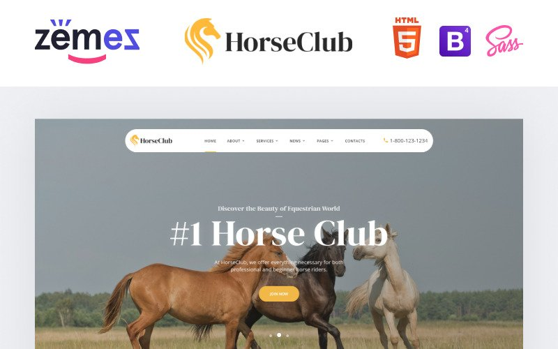 HorseClub - Elegant Animals Multipage HTML Website Template