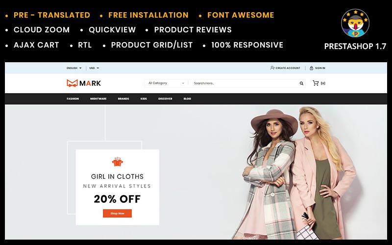 Markera mode- och skorbutikens PrestaShop-tema