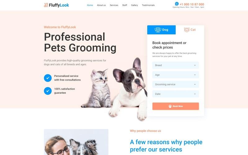 FluffyLook - Pet Bakım Temiz Açılış Sayfası Şablonu