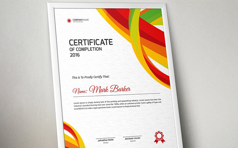 Abstract Colorful Certificate Template
