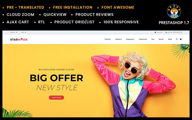 Obchod PrestaShop s motivem obchodu Starmode