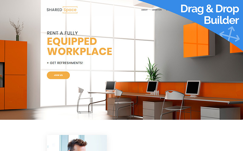 SharedSpace - Coworking Moto CMS 3 Template