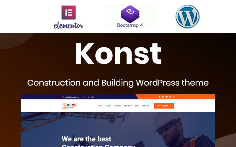 Konst - Building and Construction Bootstrap WordPress Elementor Theme