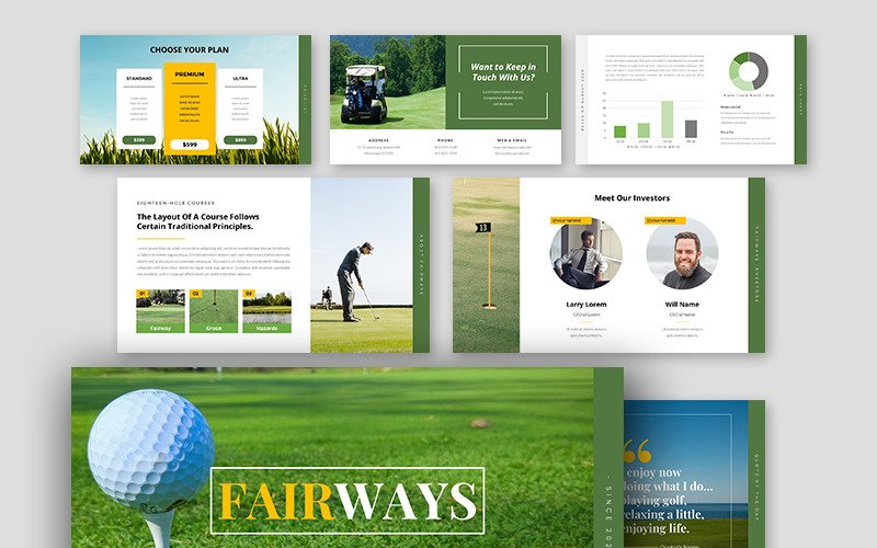 Fairways Golf Business PowerPoint sablon