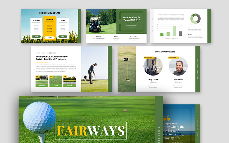 PowerPoint-Vorlage für Fairways Golf Business