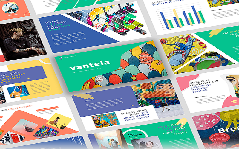 Vantela - Pop Art & Grafitti PowerPoint sunum şablonları