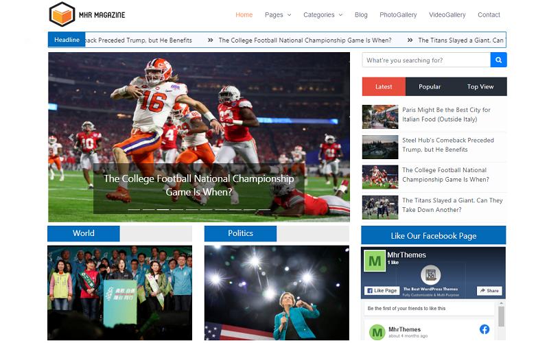 MhrMagazine - Motyw WordPress dla gazet / magazynów