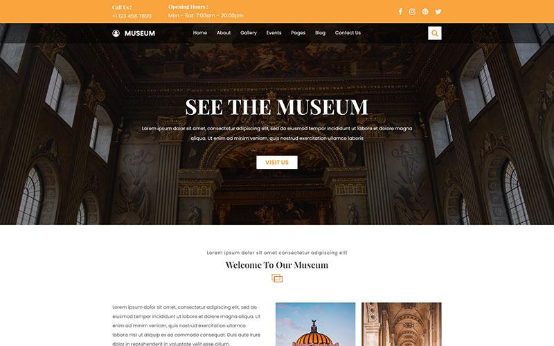 PSD шаблон для сайта музея и выставки