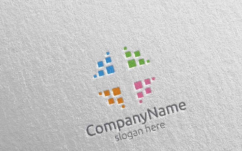 Шаблон логотипа цифровых финансовых инвестиций 1