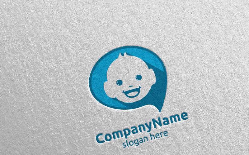 Шаблон логотипа милый ребенок улыбка