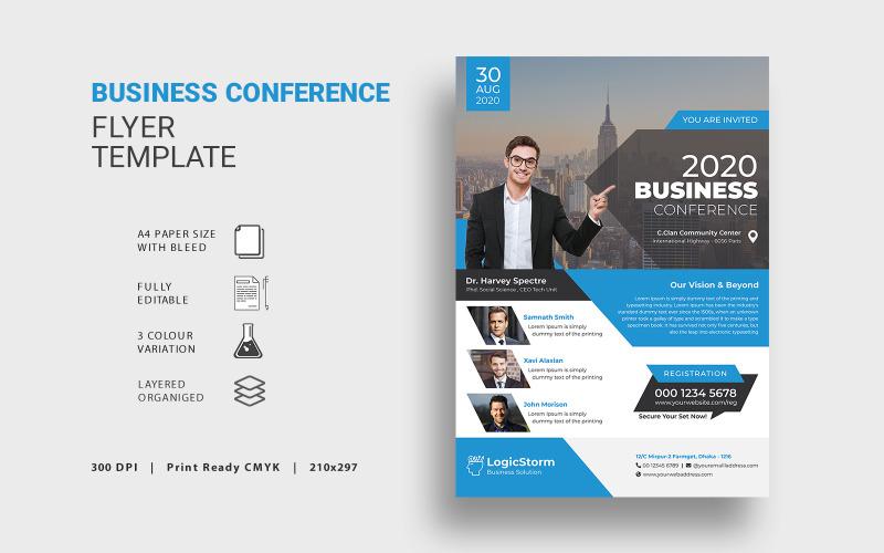 Флаер бизнес-конференции - шаблон фирменного стиля