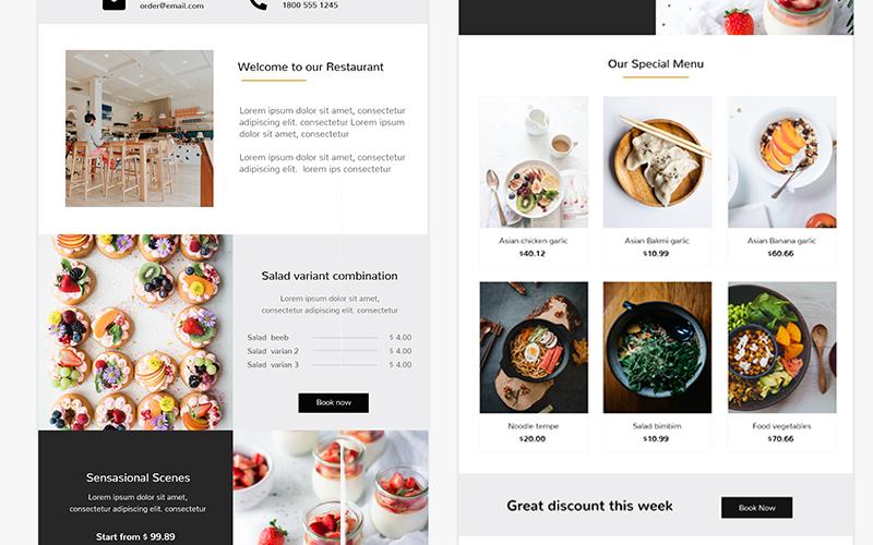 MyFoody - Адаптивный шаблон информационного бюллетеня ресторана