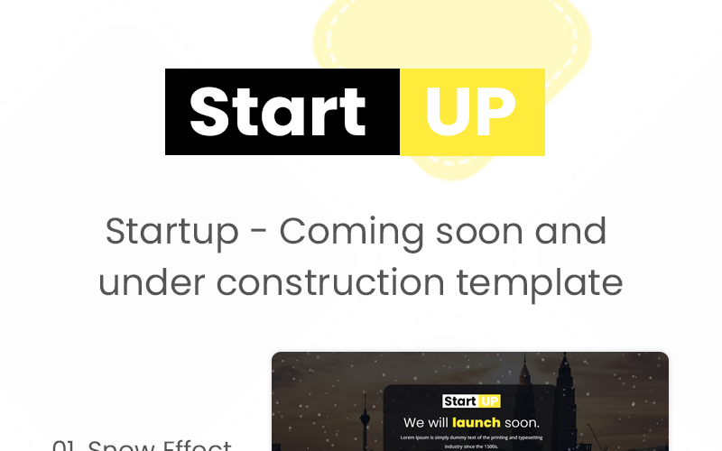 Startup - Coming soon template. Specialty Page